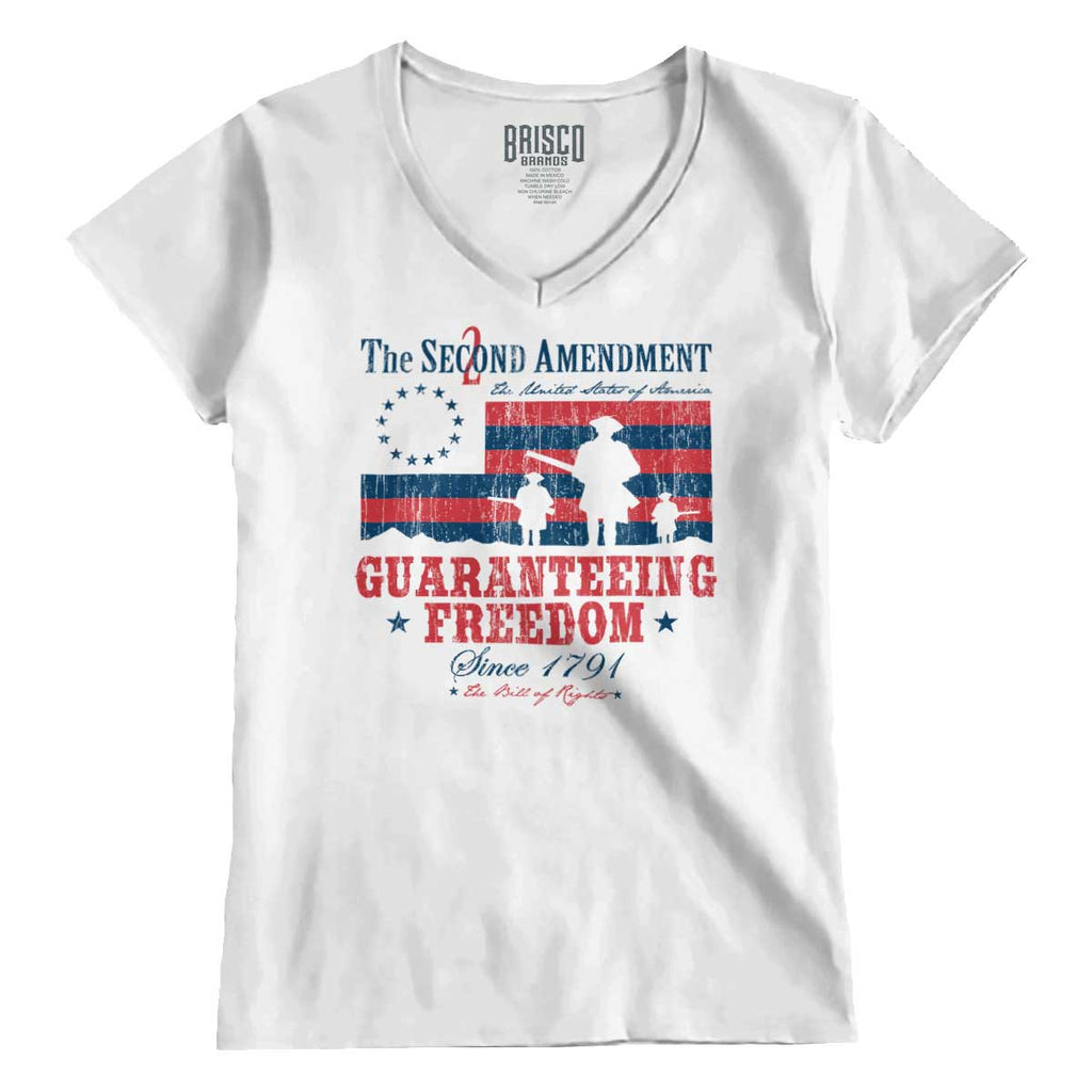 White|Guaranteeing Freedom Junior Fit V-Neck T-Shirt|Tactical Tees