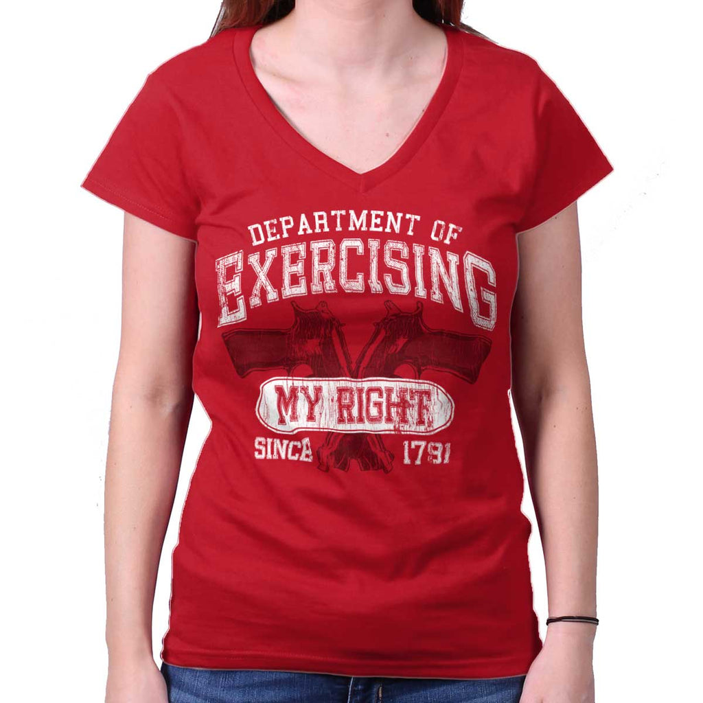 CherryRed|DepartMalet of Exercising My Right Junior Fit V-Neck T-Shirt|Tactical Tees