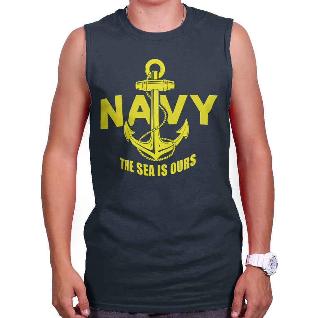 Navy|Sea is Ours Sleeveless T-Shirt|Tactical Tees
