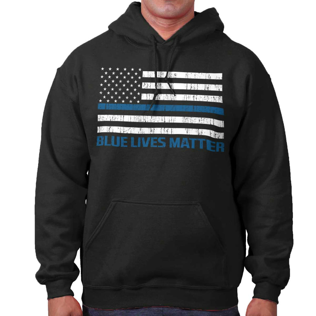 Black|Blue Lives Matter Flag Hoodie|Tactical Tees