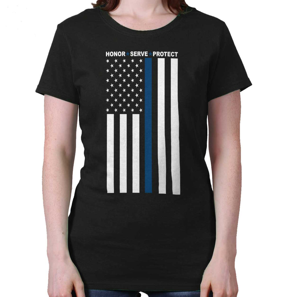 Black|Blue Lives Matter Vertical Ladies T-Shirt|Tactical Tees