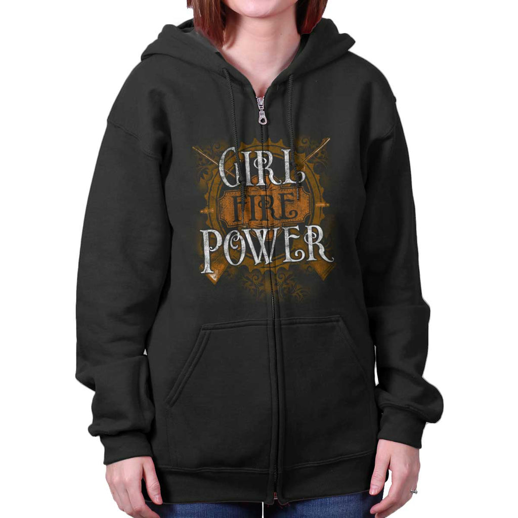 Black|Girl Fire Power Zip Hoodie|Tactical Tees