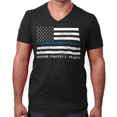 Black|Blue Lives Matter Honor V-Neck T-Shirt|Tactical Tees