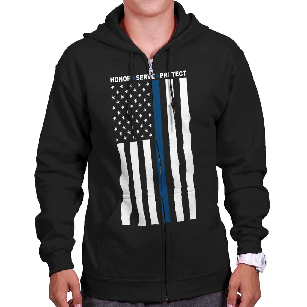 Black|Blue Lives Matter Vertical Zip Hoodie|Tactical Tees
