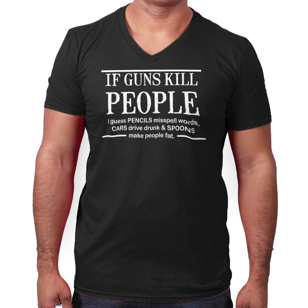 Black|If Guns Kill V-Neck T-Shirt|Tactical Tees