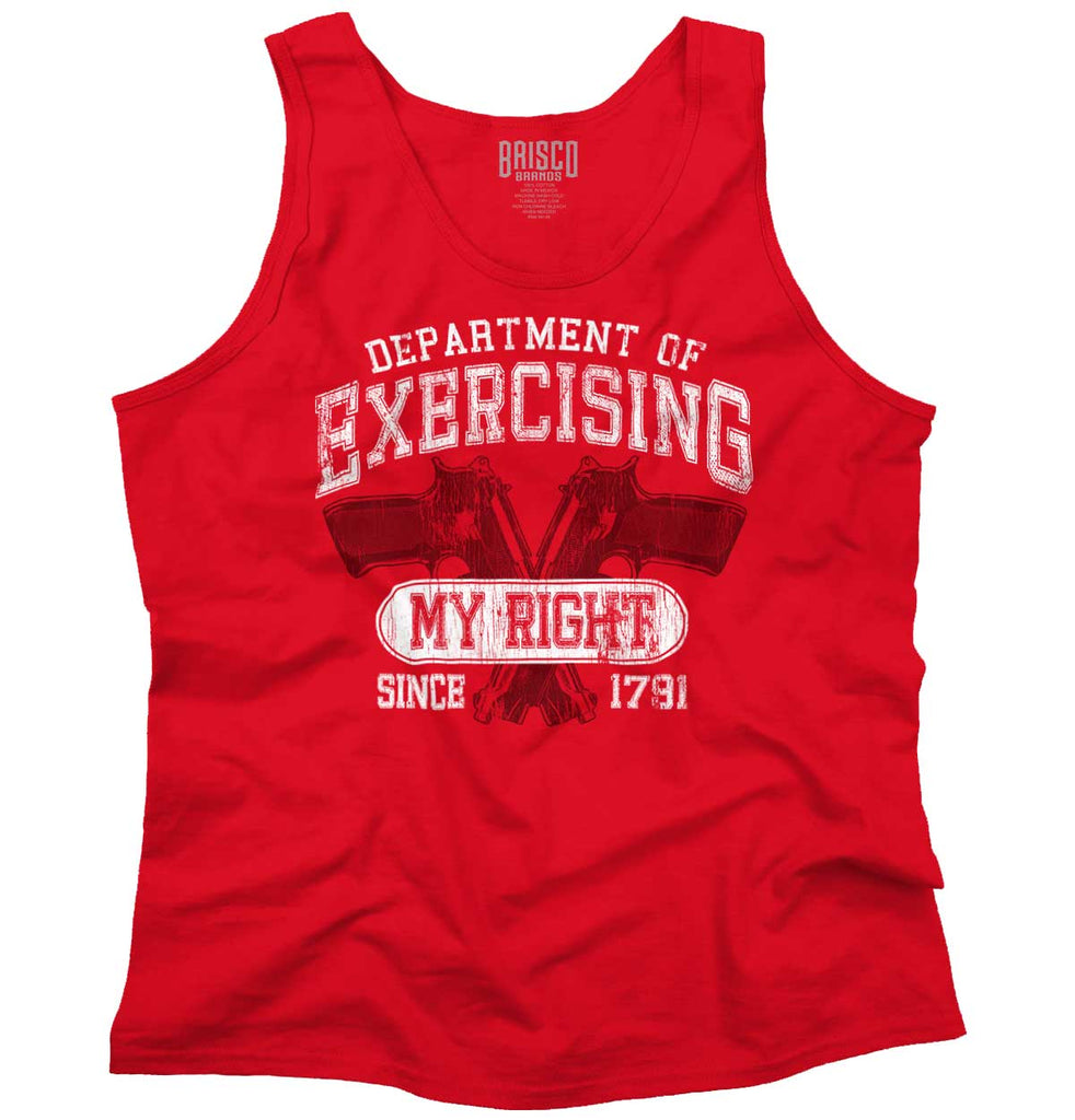 Red|DepartMalet of Exercising My Right Tank Top|Tactical Tees