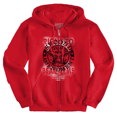 Red|Right To Bear Arms  AMaledMalet Zip Hoodie|Tactical Tees