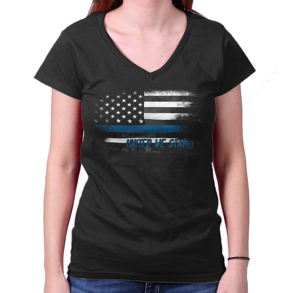 Black|Blue Lives Matter Fade Junior Fit V-Neck T-Shirt|Tactical Tees