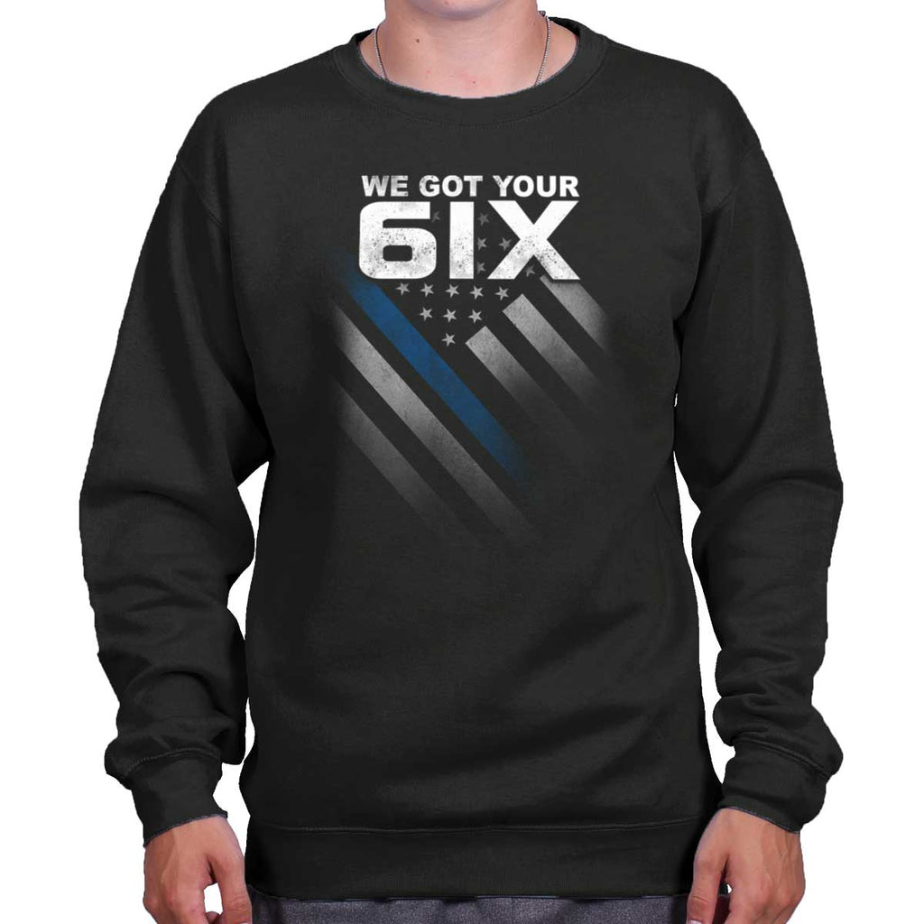 Black|Blue Lives Matter 6 Crewneck Sweatshirt|Tactical Tees