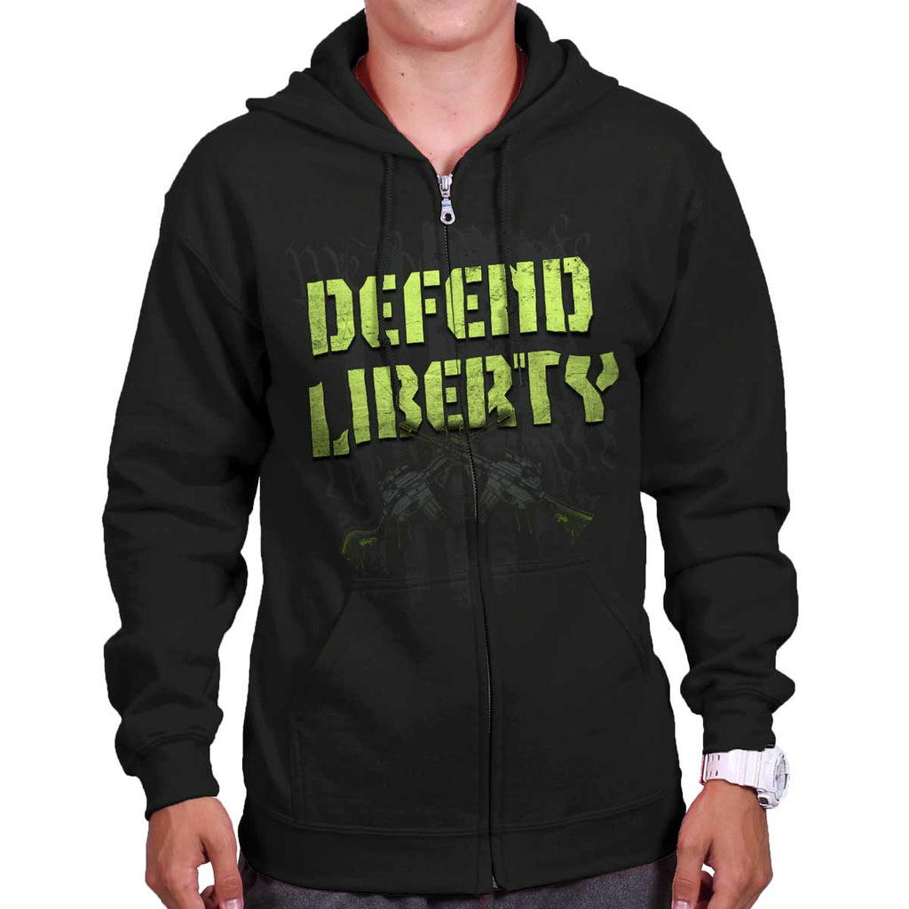 Black|Defend Liberty Zip Hoodie|Tactical Tees