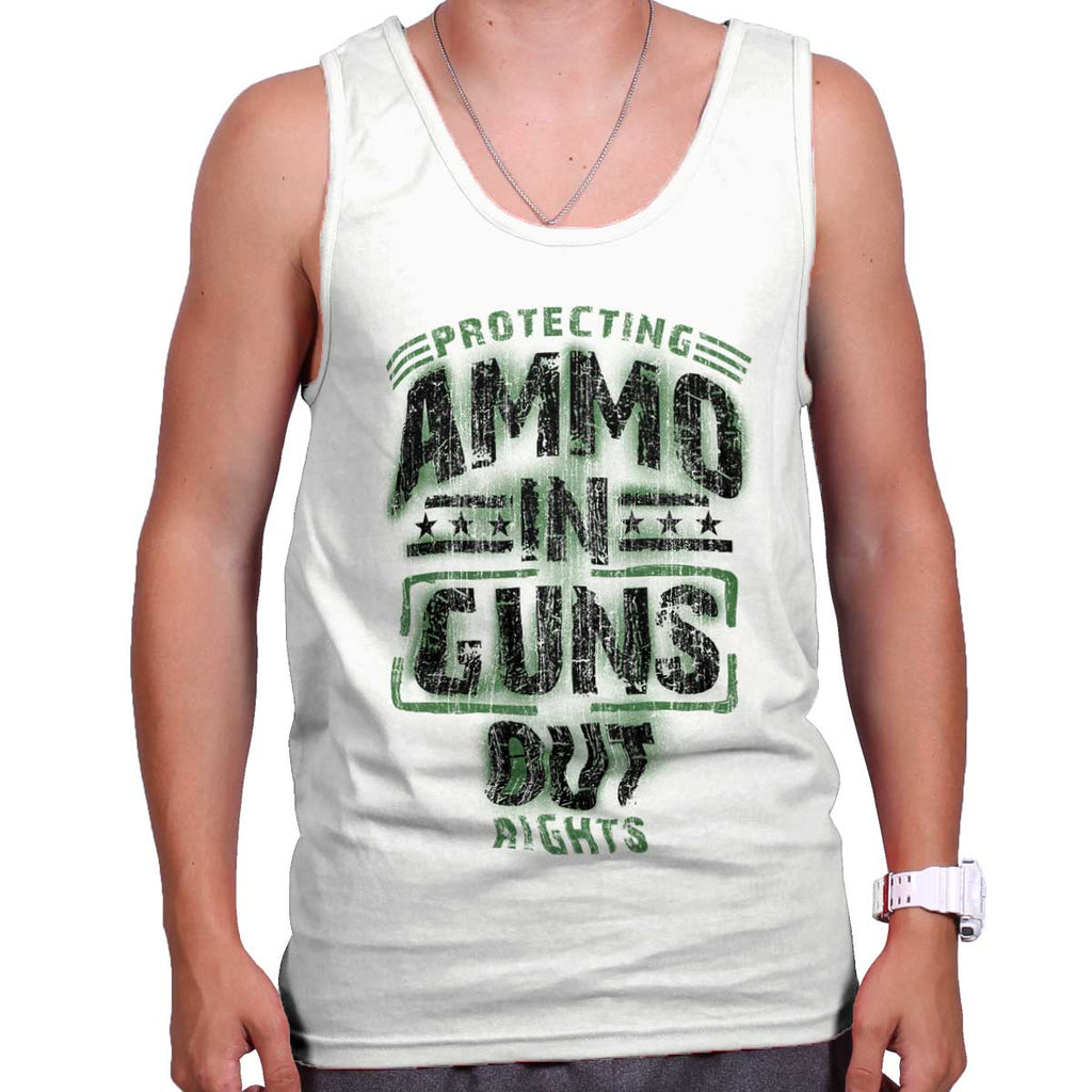 White|Ammo In Guns Out Protecting Rights Tank Top|Tactical Tees