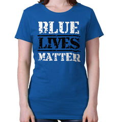 Royal|Blue Lives Matter Bold Ladies T-Shirt|Tactical Tees