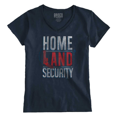 Navy1|Homeland Security Junior Fit V-Neck T-Shirt|Tactical Tees