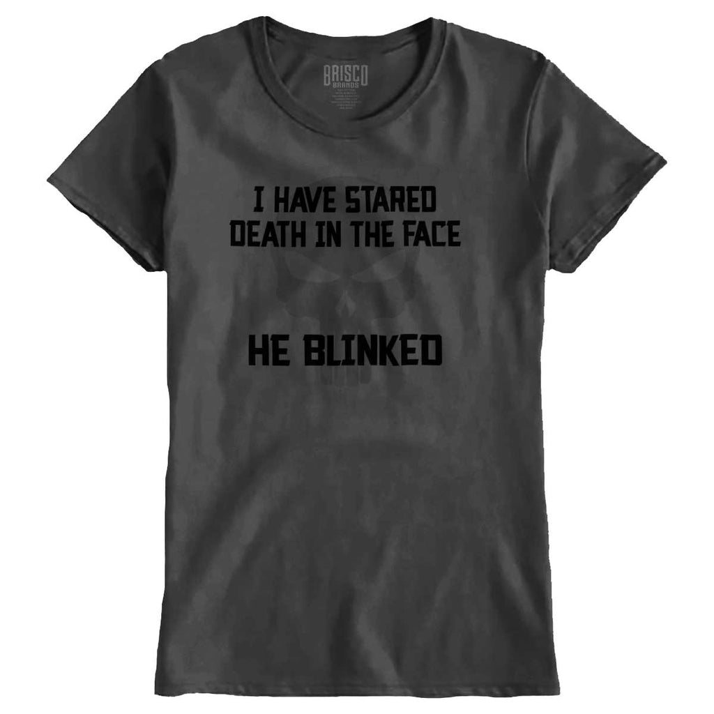 Charcoal|He Blinked Ladies T-Shirt|Tactical Tees