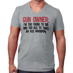 SportGrey|Gun Owner Too Young V-Neck T-Shirt|Tactical Tees