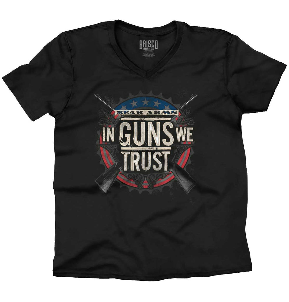 Black|In Guns We Trust V-Neck T-Shirt|Tactical Tees