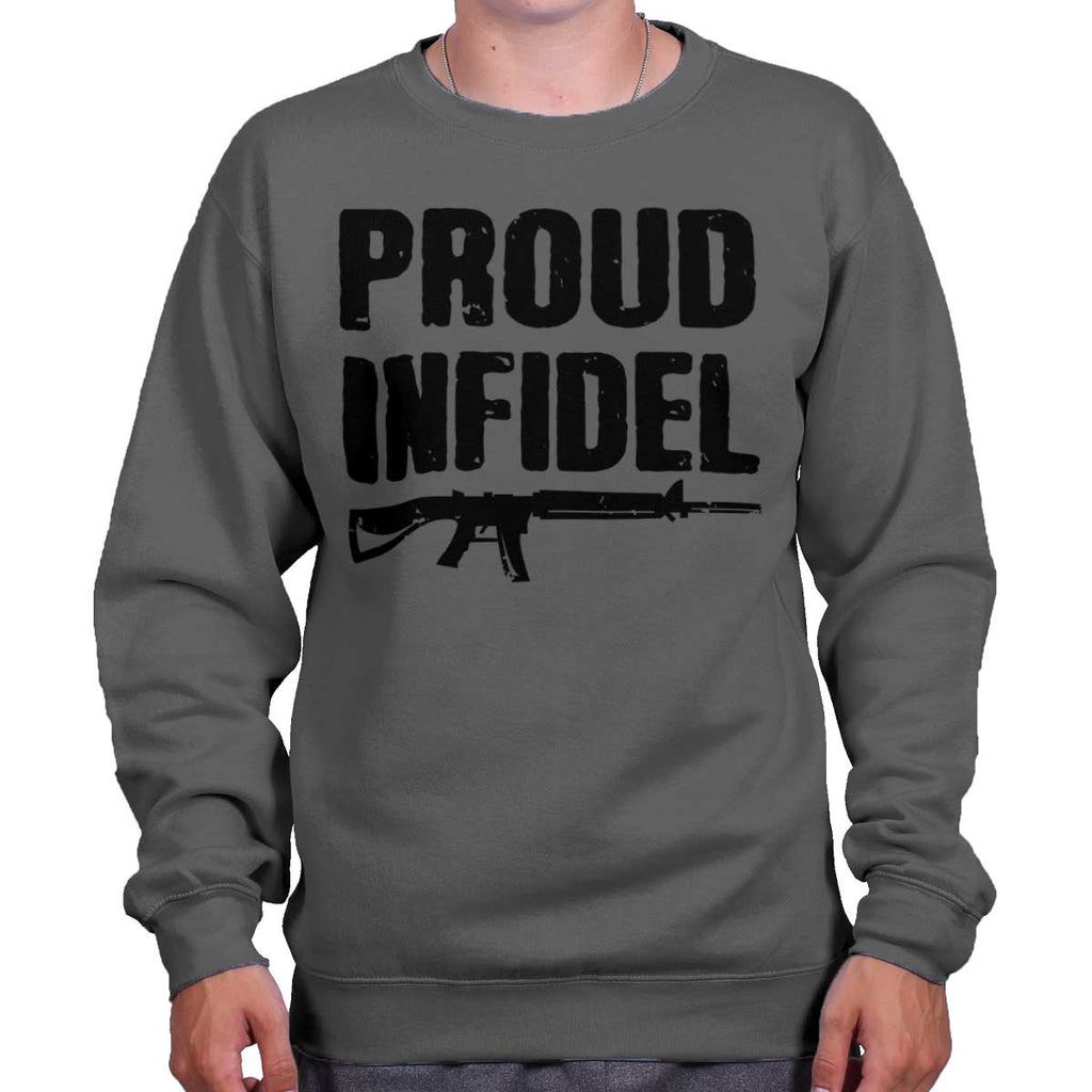 Charcoal|Proud Infidel Crewneck Sweatshirt|Tactical Tees
