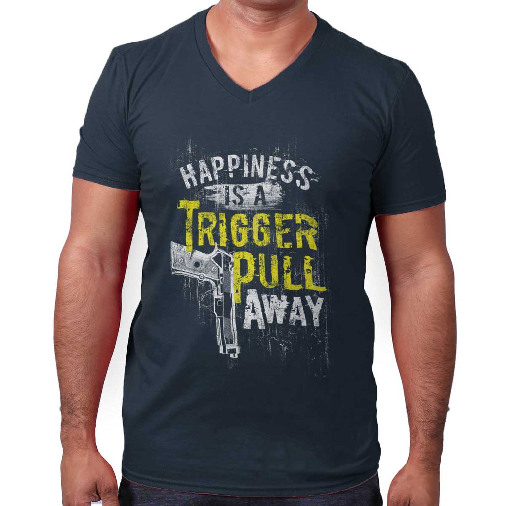 Navy|Happiness is A Trigger Pull Away V-Neck T-Shirt|Tactical Tees