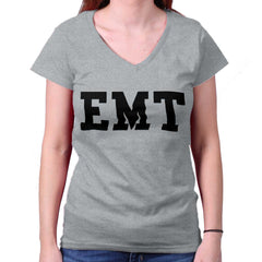 SportGrey|EMT Logo Junior Fitted V-Neck T-Shirt|Tactical Tees