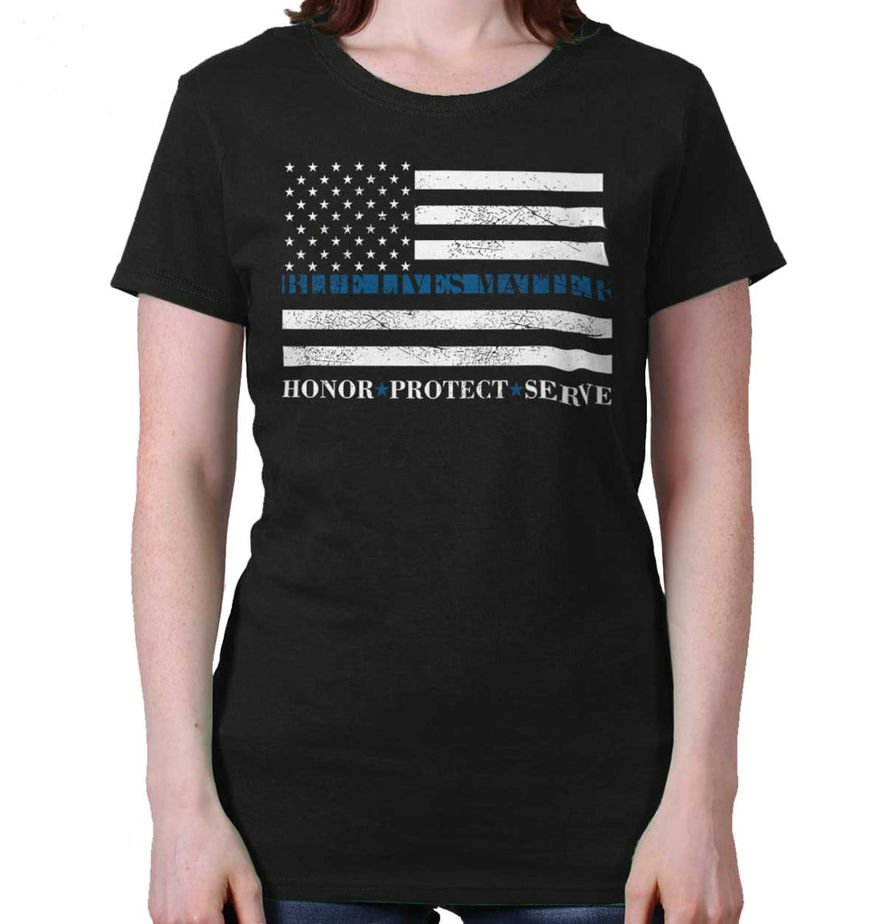 Black|Blue Lives Matter Honor Ladies T-Shirt|Tactical Tees