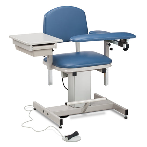 Clinton 6342 Power Series, Blood Drawing Chair with Padded Flip Arm and Drawer - New