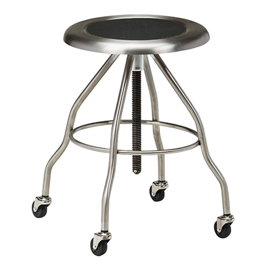 Clinton SS-2162 Stainless Steel Exam Stool W/ Casters