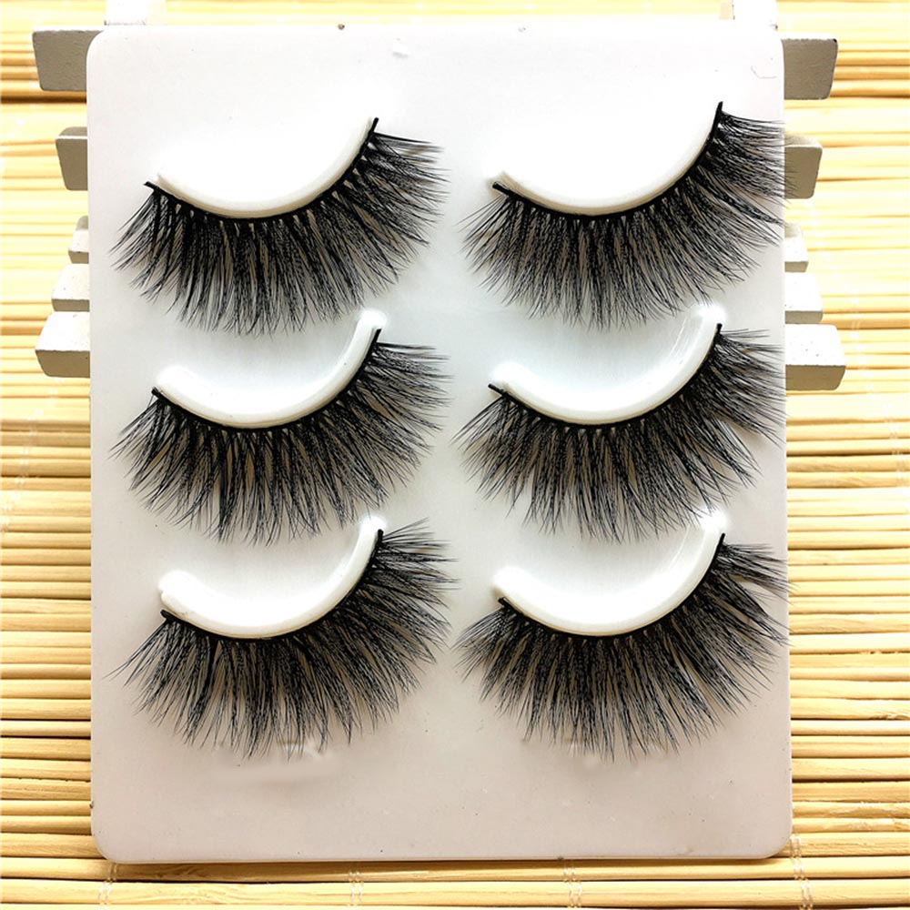0f6dac9924f 3Pair/Set 3D Handmade Thick False Eyelashes Messy Cross Black Natural Long  Fake Eyelashes Eye ...