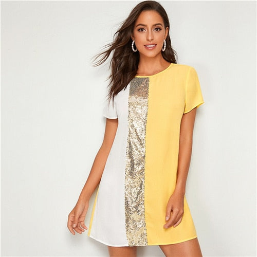 Sequin Detail Colorblock Tunic Dress