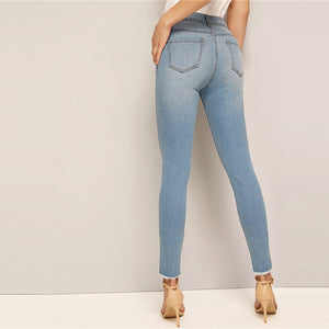 Frayed Edge Faded Denim Jean