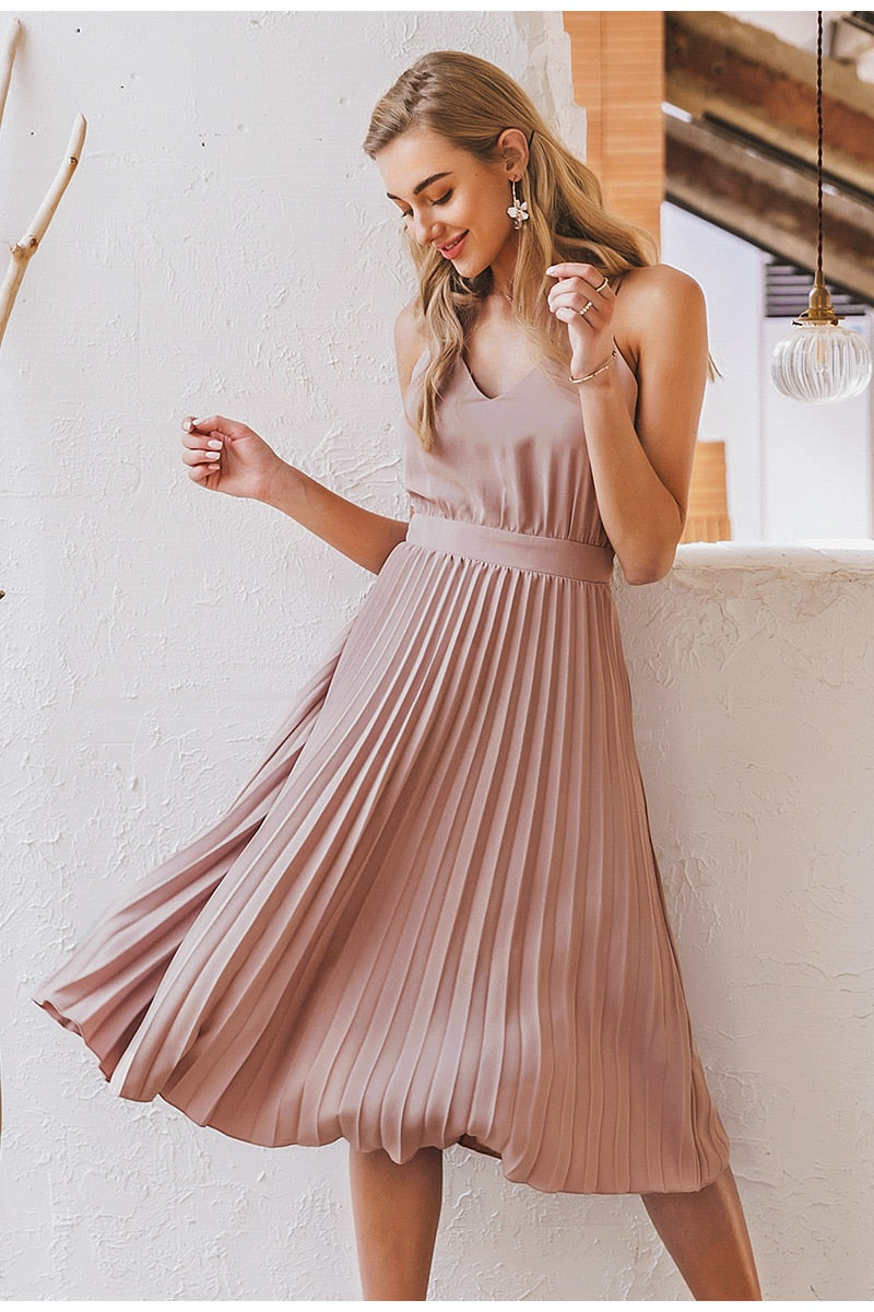 Pleated Midi Summer Dress