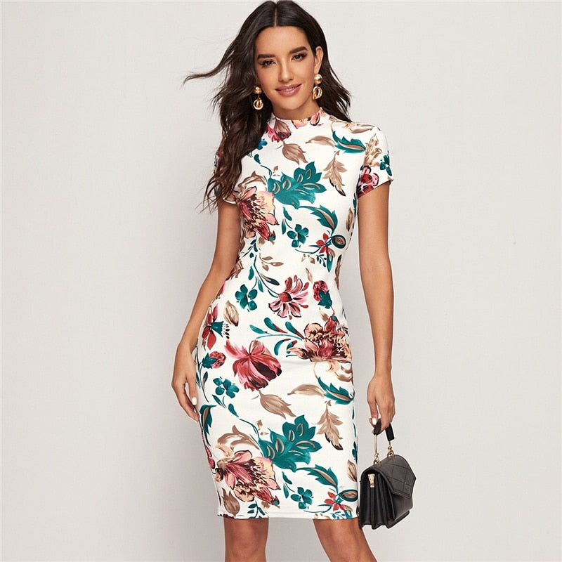 Fitted Floral Print Cap Sleeve Dress