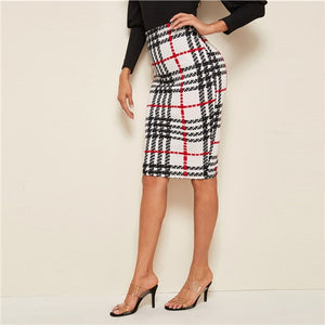 Open image in slideshow, Plaid High Waist Pencil Skirt