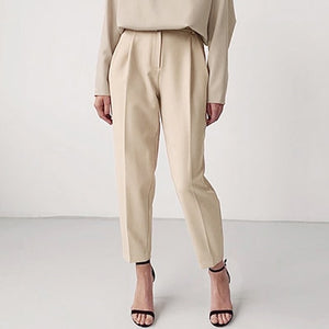 Open image in slideshow, High Waist Khaki Pencil Trousers