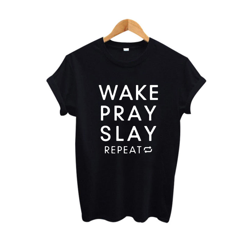 Women's Wake Pray Slay Repeat Tee