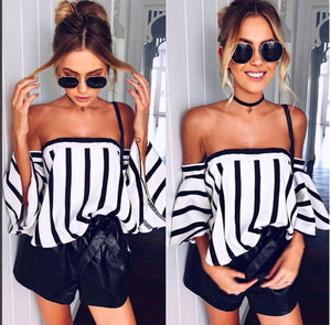 Open image in slideshow, Women's Off Shoulders Stripes Blouse
