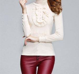 Open image in slideshow, Women's Lace Long Sleeve Turtleneck