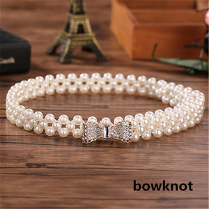 Open image in slideshow, Women's Waist Elastic Buckle Pearl Belt