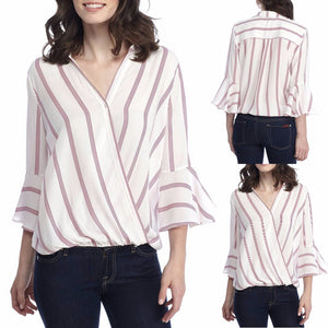 Open image in slideshow, Women's Casual Striped Blouse