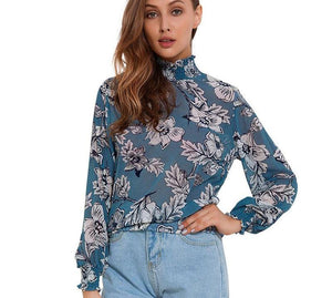 Open image in slideshow, Women's Floral Chiffon Blouse Long Sleeve
