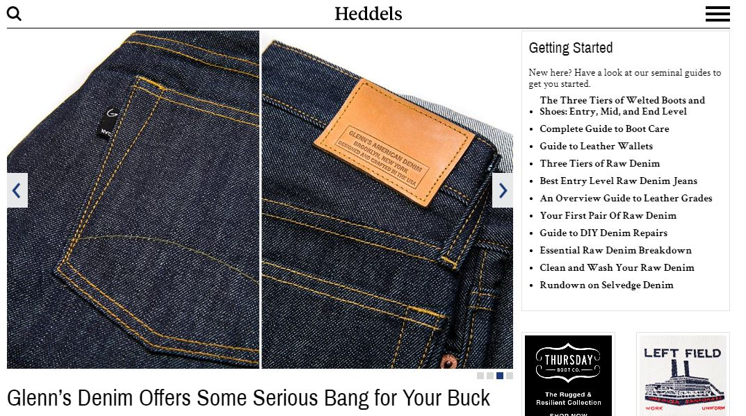 Glenn's Denim on Heddels - October 2018