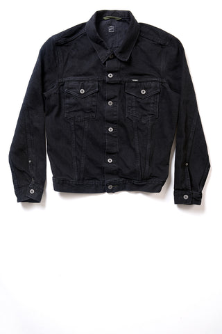 GD211 SLIM TRUCKER JACKET | Washed 14 Oz Denim - Total Black