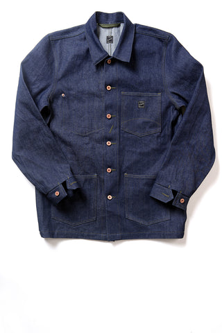 GD213 CHORE COAT | Raw 14 Oz Denim - Vivid Indigo
