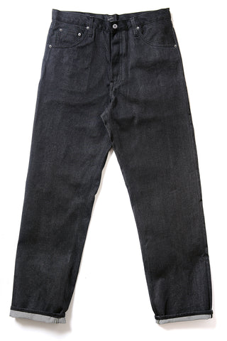 GD113 RELAXED WIDE LEG | Raw 13 Oz Selvedge Denim - Ash Black