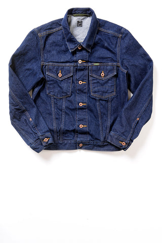 GD211 SLIM TRUCKER JACKET | Washed 14 Oz Denim - Vivid Indigo