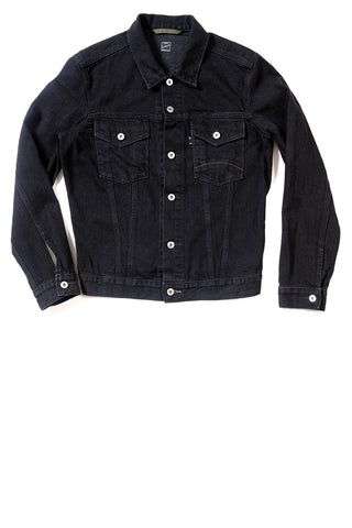 GD211 SLIM TRUCKER JACKET | Washed 12 Oz Denim - Total Black