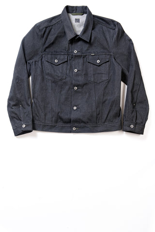 GD211 SLIM TRUCKER JACKET | Raw 13 Oz Selvedge Denim - Ash Black