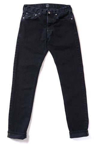 GD110 SLIM TAPERED | Washed 14 Oz Denim - Total Black