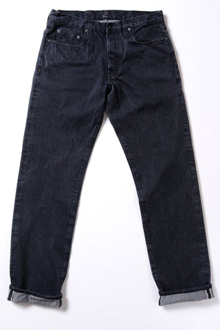 GD111 SLIM STRAIGHT | Washed 13 Oz Selvedge Denim - Ash Black
