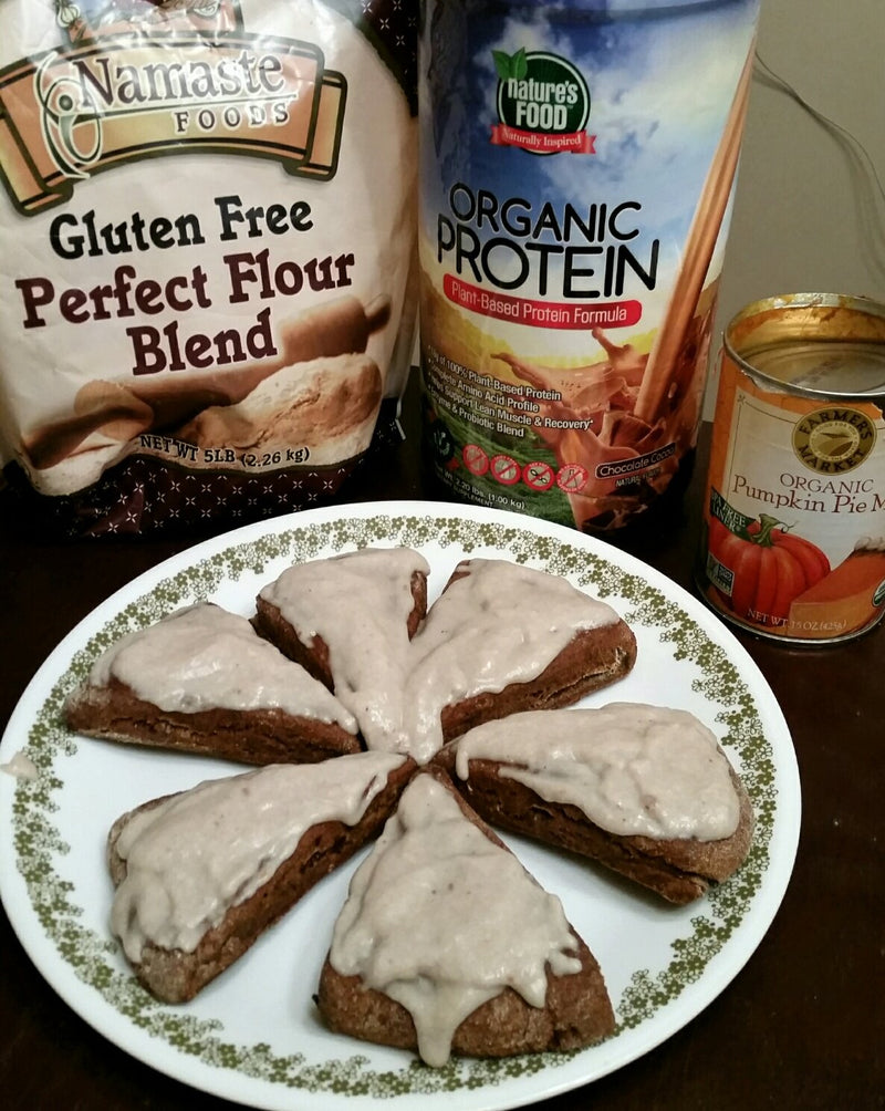 Gluten-free Chocolate Pumpkin Protein Scones with Coconut Frosting