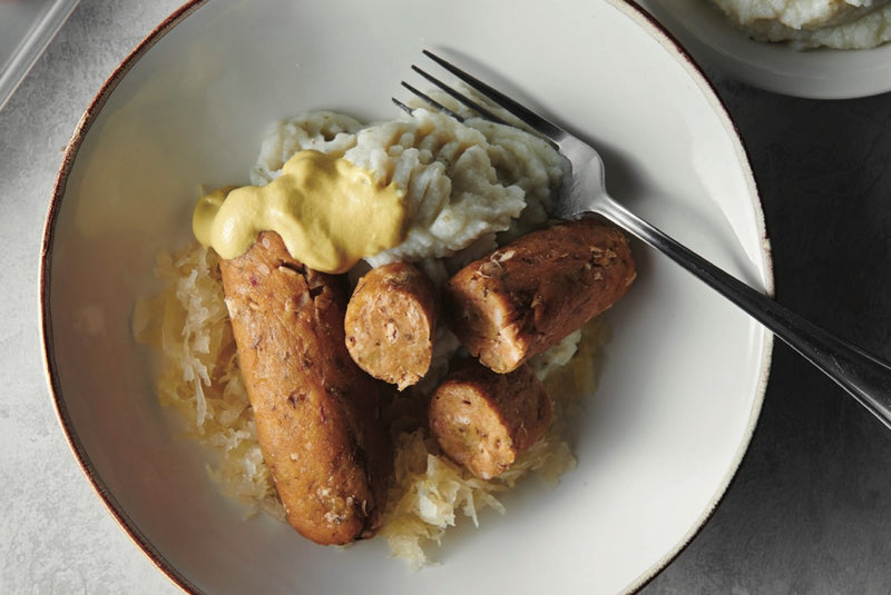 OktoberFeast! Sausage, Cauliflower Mash and Sauerkraut